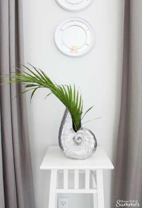 Seashell Vase with Palm Frond
