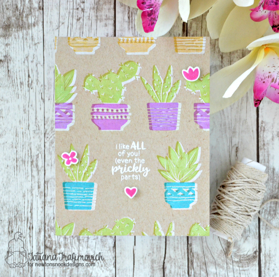 Cactus card by Tatiana Trafimovich | Cultivated Cacti stamp sets and die set by Newton's Nook Designs #newotnsnook