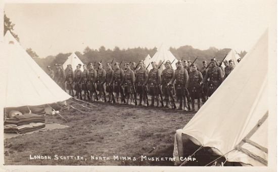 Photograph the London Scottish Musketry Camp North Mimms - Rifle Inspection - handwritten date of 28 August 1915 on reverse and published by W.H. Christmas & Co, Photographer, 8 Queens Rd, Bowes Park, N22 - from Peter Miller's collection