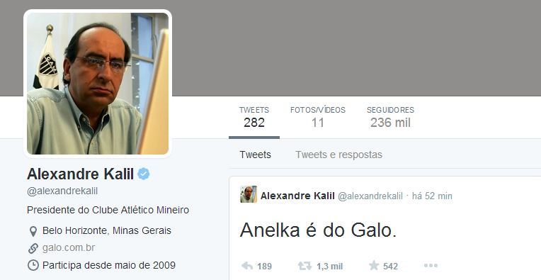 Anelka é do Galo, confirma Kalil - Futblog do Sorriso