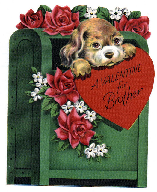 roses and hearts doggy vintage valentines card ephemera