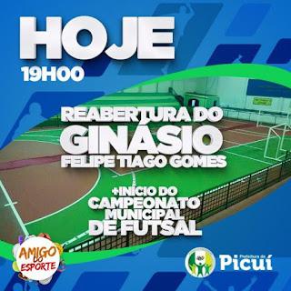 Prefeitura reabre ginásio municipal Felipe Tiago gomes nesta terça-feira (14) com início do campeonato de futsal