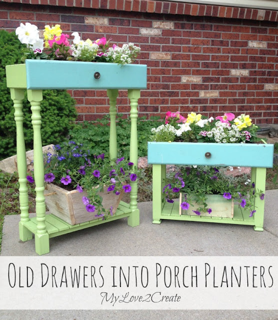Old Drawers into porch planters and other garden projects