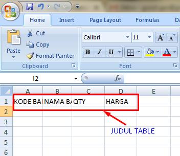 lembar kerja excel mengenal table dan judul table