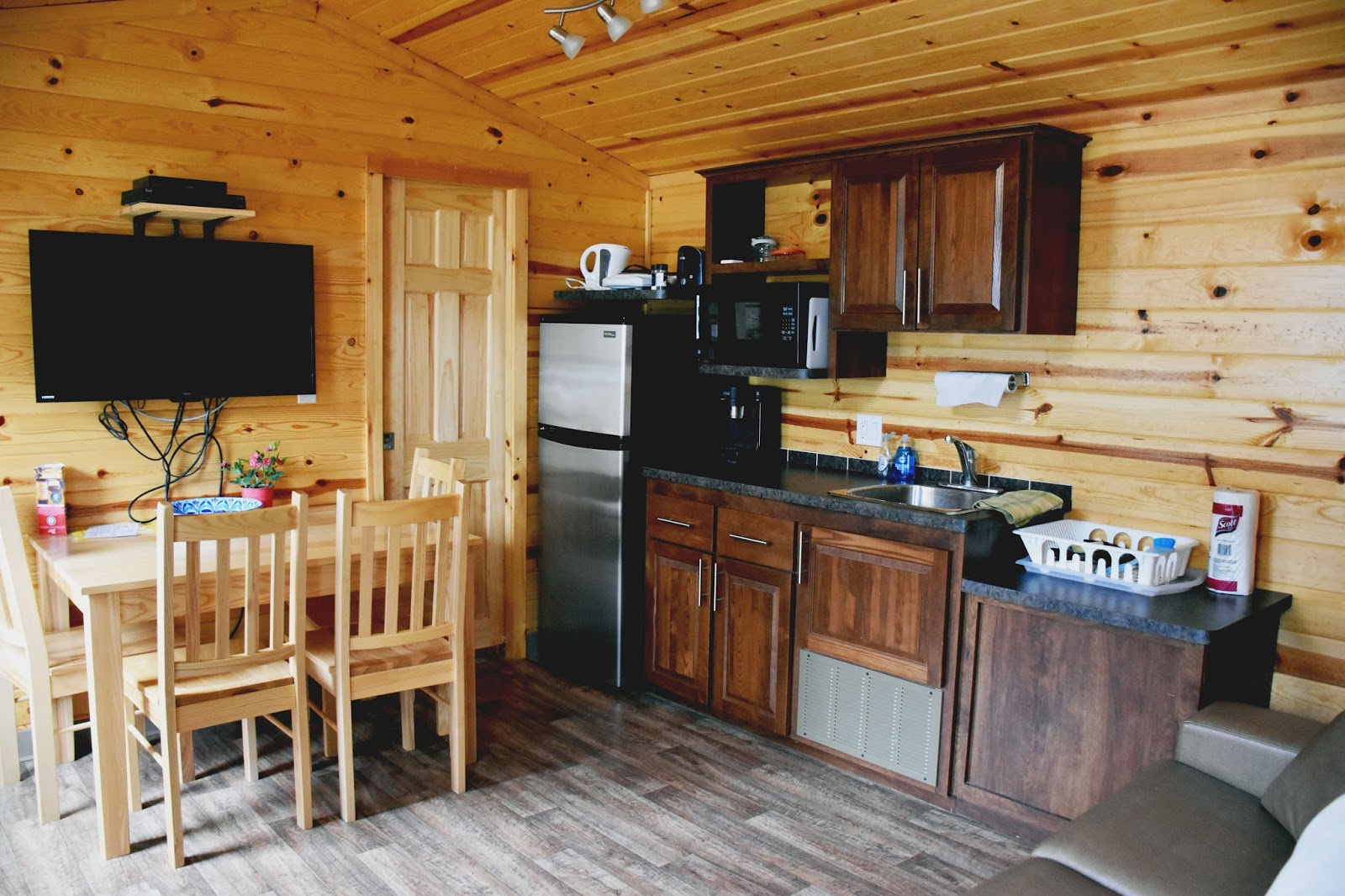 Our Cabin Had A Kitchen With Fridge Microwave And Sink It Didnt Have Stove But There Are Models That Do If You So Desire Is Barbecue Right