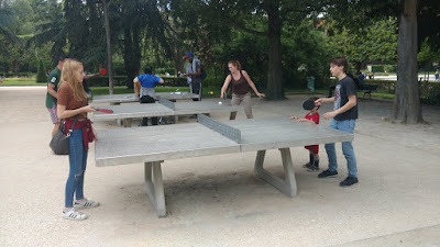 playing ping pong at Parisan park