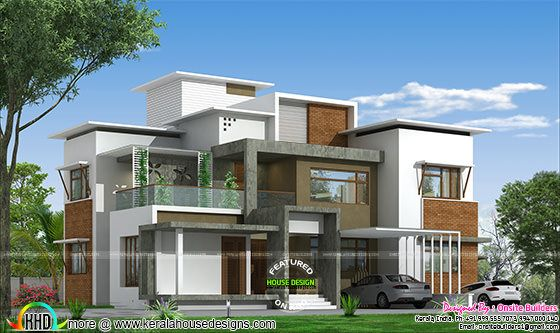 4 BHK box type modern home