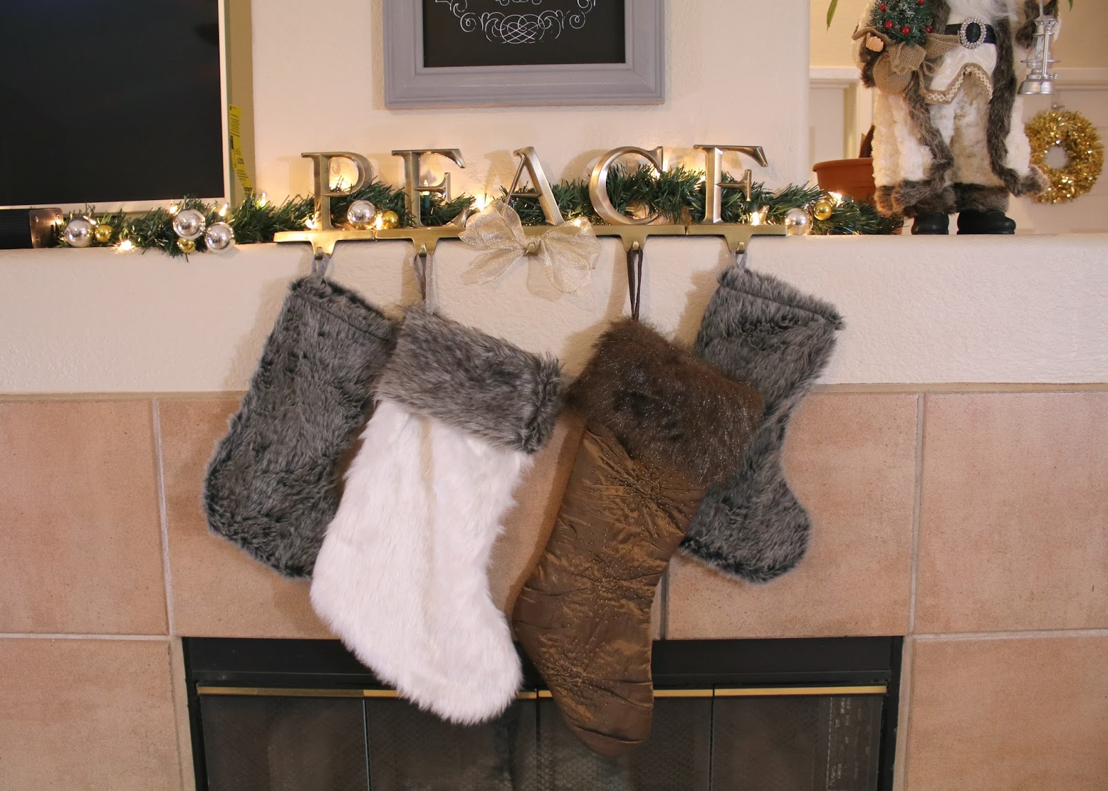 Faux Fur stockings, brown and white stockings, faux fur holiday theme