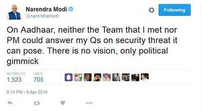 On Aadhaar, neither the Team that I met nor PM could answer my Qs on security threat it can pose. There is no vision, only political gimmick