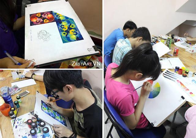 học trang trí màu khối H1 tại Zest Art