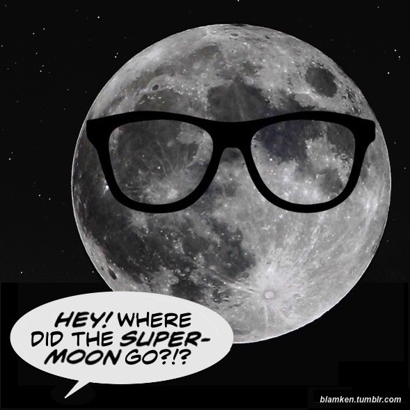 image of the clear full moon at perigee with glasses 'Photoshopped' on and word balloon from below reading 'Hey! Where did the supermoon go?!?'