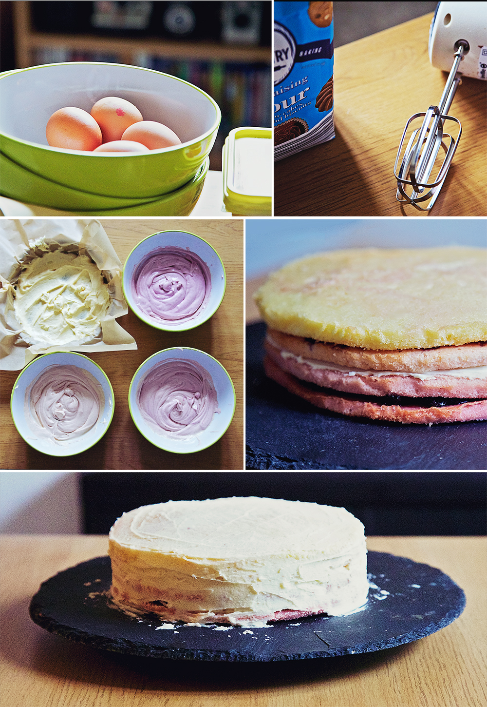 Montage of photos showing the method for making an ombre cake