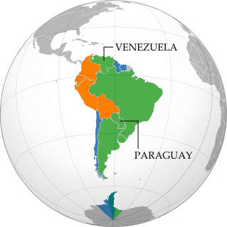 Map of intergovernmental organizations in South America: Mercosur, the Andean Community, and UNASUR (Venezuela and Paraguy indicated)