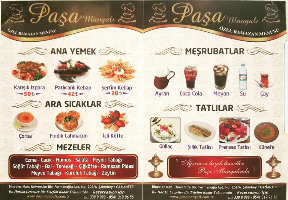 paşa mangalı binevler gaziantep iftar menü