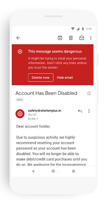 Gmail提示潜在风险的电邮