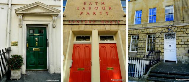 Portas coloridas das casas georgianas de Bath