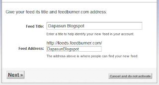 Mengisi nama feeds addres