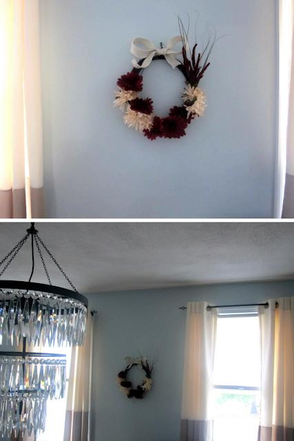 DIY Fall Wreath as indoor decor in my dining room