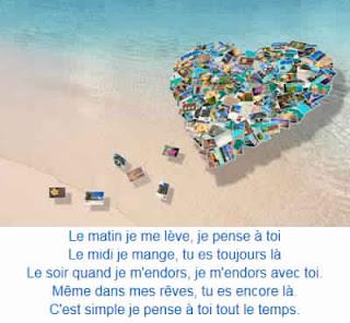 Message d'amour je pense a toi