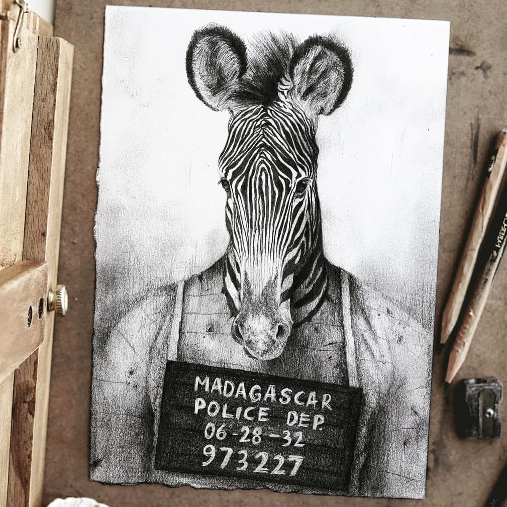 06-Arrested-Zebra-Mike-Koubou-Staging-Ink-and-Pencil-Drawings-www-designstack-co