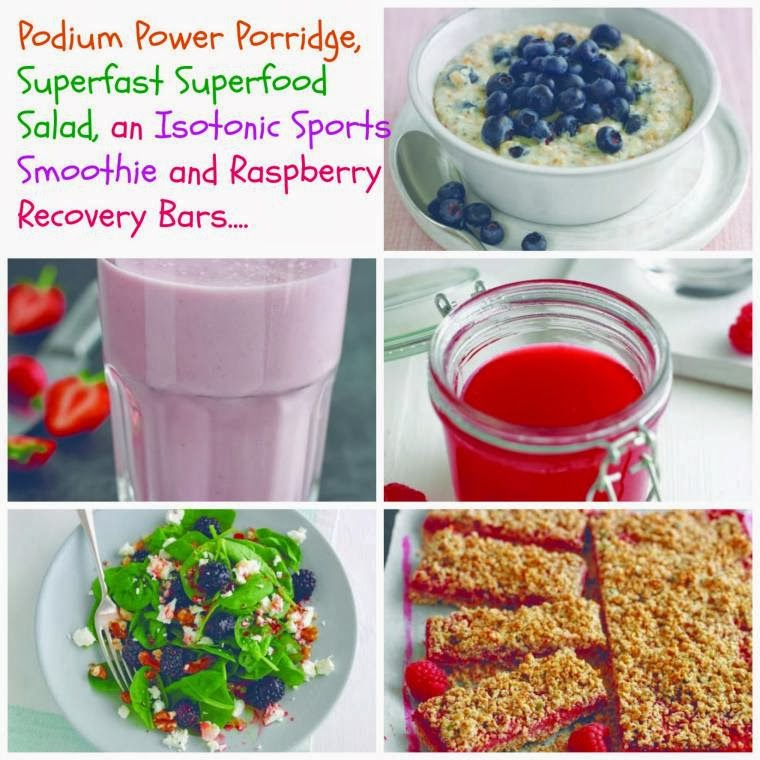 Podium Power Porridge, Superfast Superfood Salad, An Isotonic Sports Smoothie And Raspberry Recovery Bars