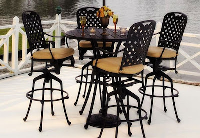 black wrought iron furniture in distro style placed close to a lake - Wrought Iron Patio Chairs