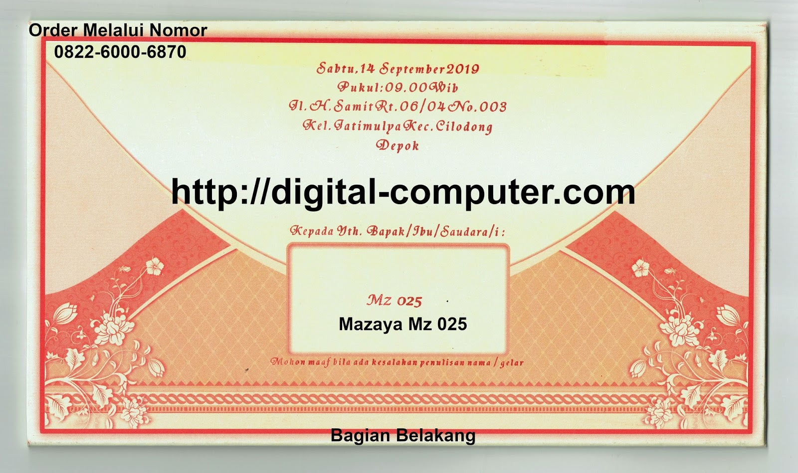 undangan hardcover Mz-025