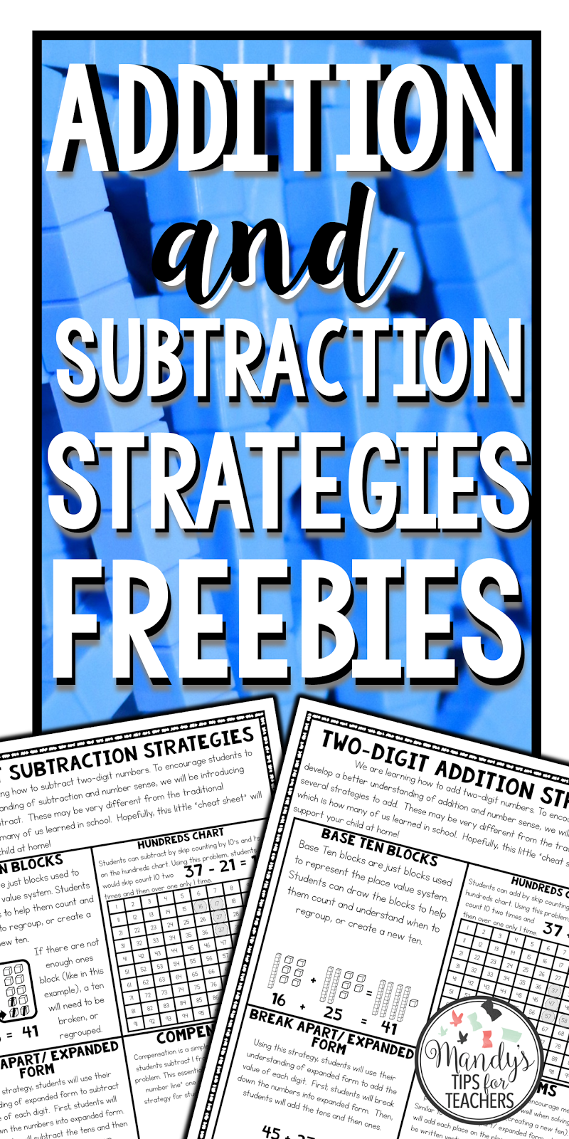 Addition and Subtraction Strategies FREEBIE! - Mandy\'s Tips for Teachers