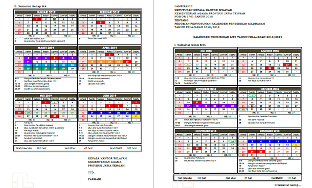 Kalender Pendidikan Madrasah Provinsi Jawa Tengah Tahun Pelajaran 2018-2019