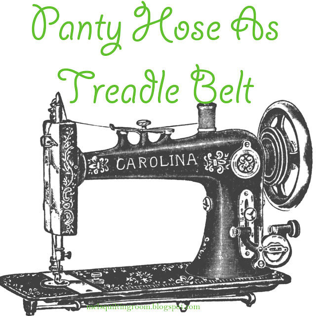 panty hose as treadle sewing machine belt