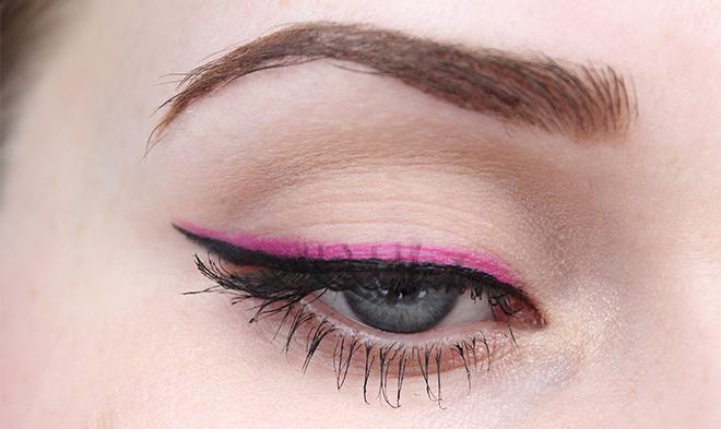 líčení, růžové linky, barevné líčení, makeup look, pink eyeliner, colourful makeup