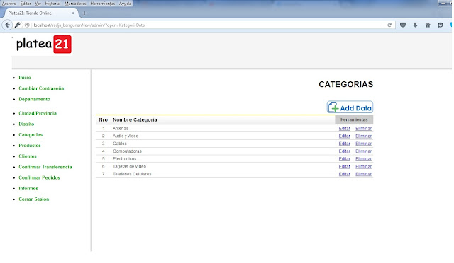 tienda online php admin ecommerce