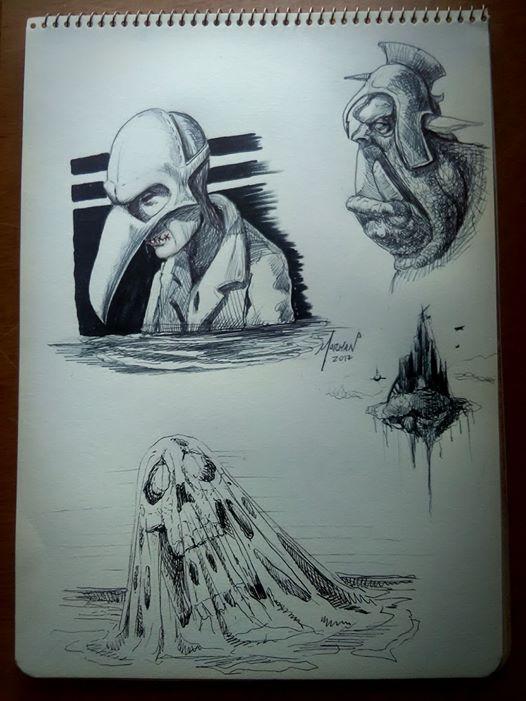 Bocetos de práctica 25 minutos, bolígrafo bic