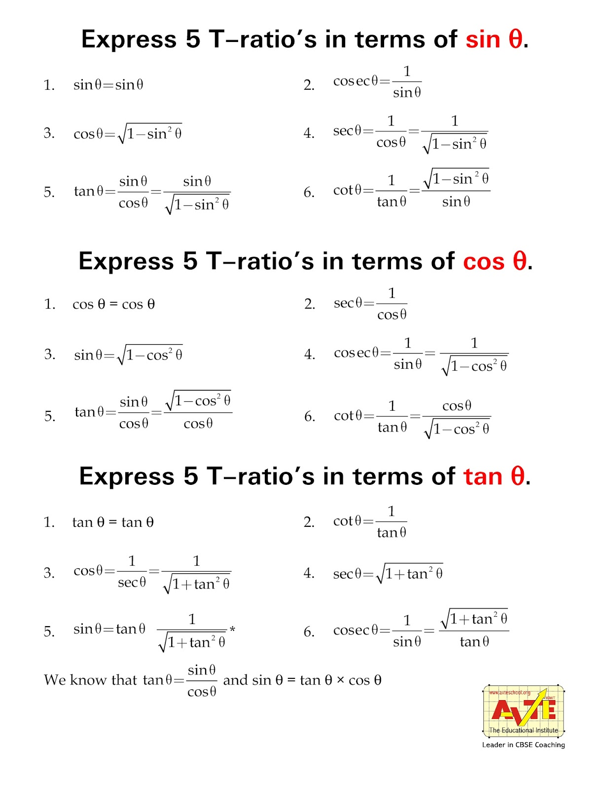 Maths4all Express Trigonometry Ratios In Terms Of Sin Cos Tan