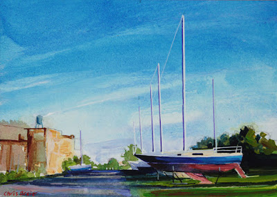 Acrylic painting of a boatyard located in Buffalo, New York.