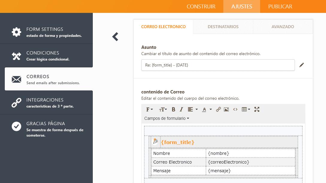 jotform correo formato