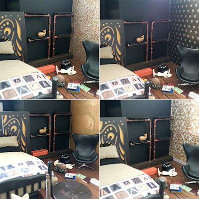 Set of four pictures of one-twelth modern miniature room, with each picture having a slightly different piece of scrapbooking paper on the right-hand wall.
