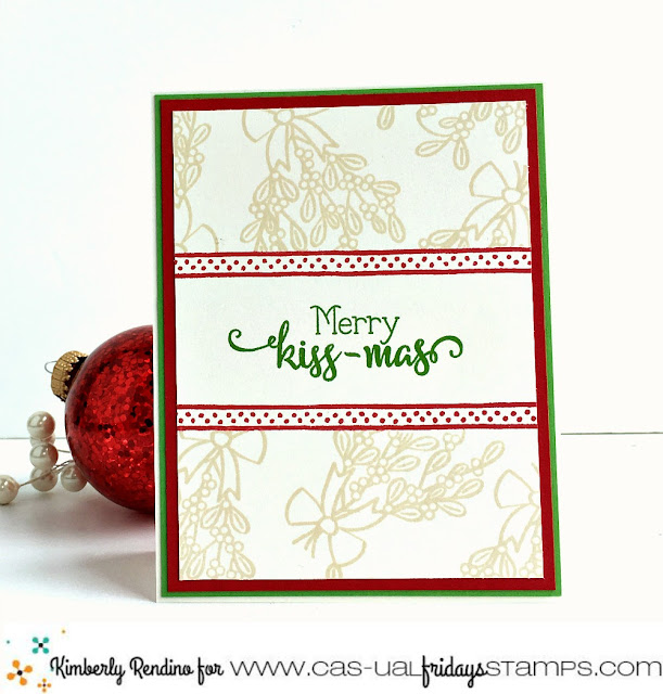 holiday | christmas | mistletoe | clear stamps | merry kissmas | prismacolor pencils | handmade card | cardmaking | papercraft | cas-ual fridays stamps | kimpletekreativity.blogspot.com