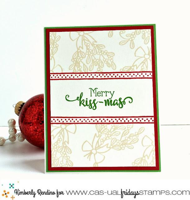 holiday | christmas | mistletoe | clear stamps | merry kissmas | prismacolor pencils | handmade card | cardmaking | papercraft | cas-ual fridays stamps | kimpletekreativity.blogspot.com