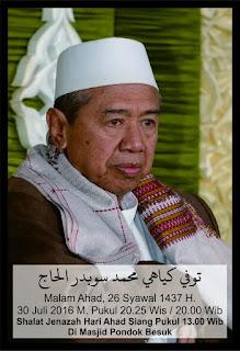 Inna Lillahi, KH. Muhammad Subadar Kembali ke Rahmatullah