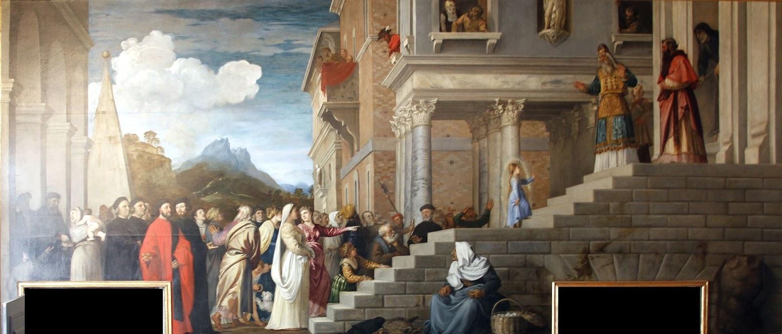 Tiziano, The Presentation of the Virgin at the Temple, 1534-1538, Venice,  Gallerie dell'Accademia Source: José Luiz via Wikimedia Commons