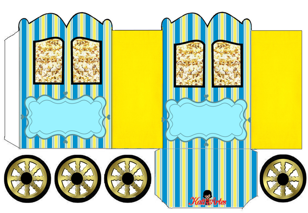 Blue and Yellow: Princess Carriage Shaped Free Printable Box.