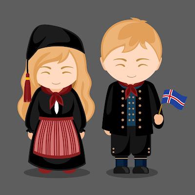 Pareja de islandeses en trajes tipicos