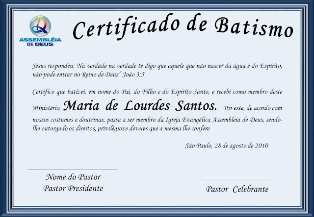 Mensagem De Apresentação De Bebe Na Igreja: Adelia Brunelli: Certificado De Batismo