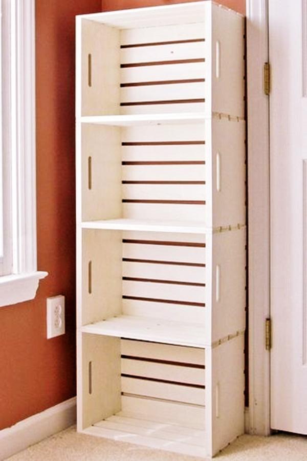 Estante de livros com caixotes de madeira,escritório
