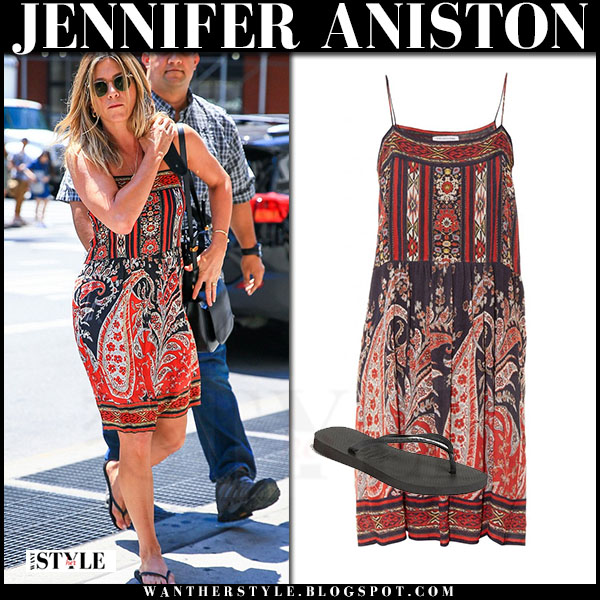 Jennifer Aniston in red paisley print mini dress isabel marant what she wore streetstyle