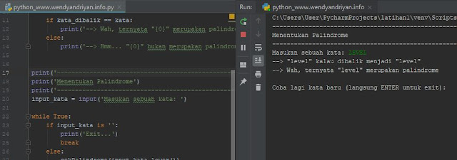Kodingan Program Palindrom Python