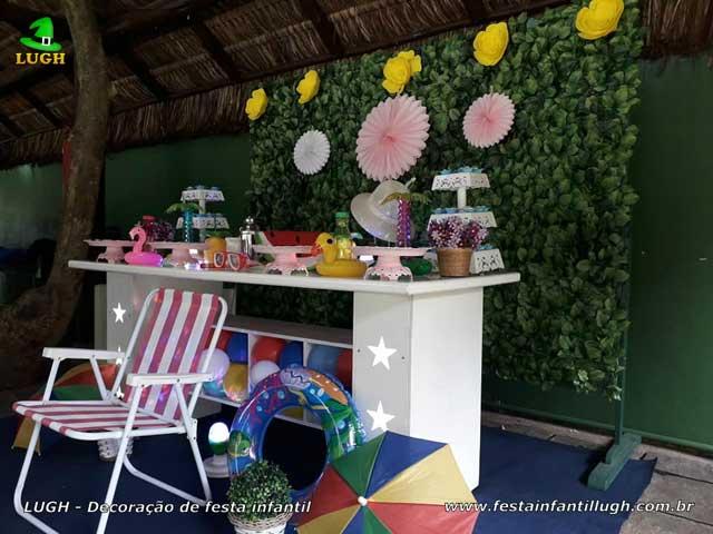 Decoração festa infantil Pool Party, mesa decorada Festa na Piscina