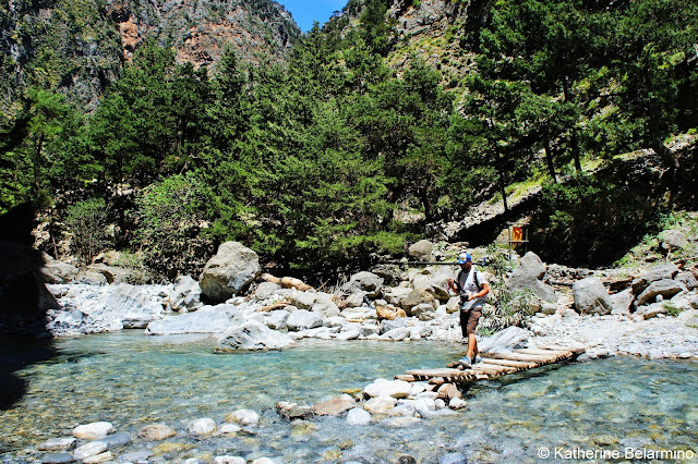 River Crossing Samaria Gorge Hike Crete Greece