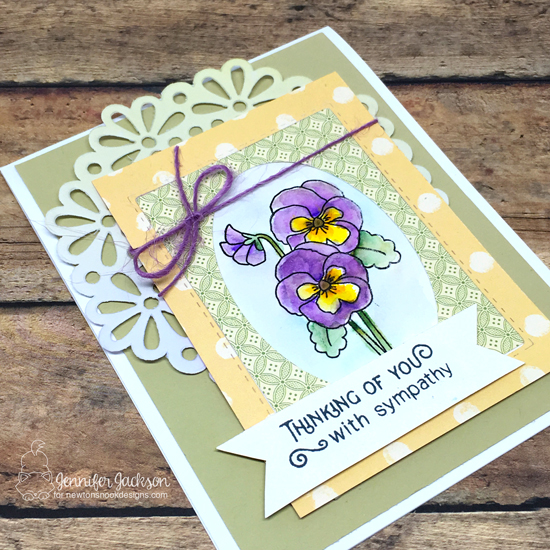 Floral Sympathy Card by Jennifer Jackson | Flower Garden Stamp set by Newton's Nook Designs #newtonsnook